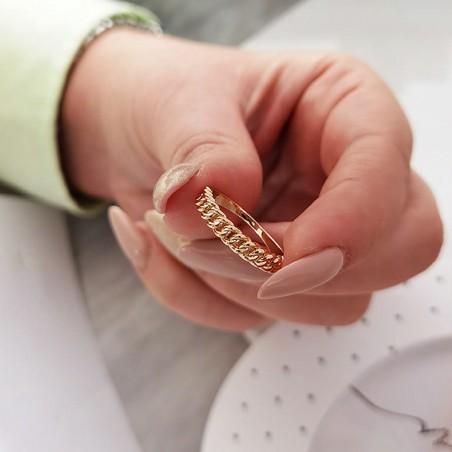 Pierścionek stal chirurgiczna platerowana złotem PST634