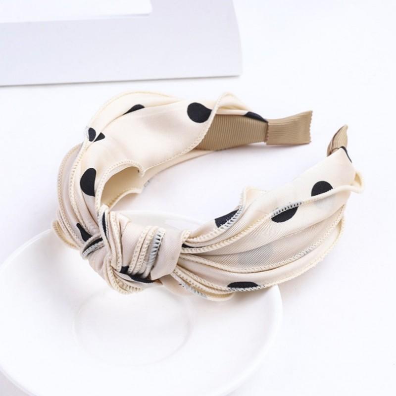 Opaska turban z materiału w groszki O367WZ1