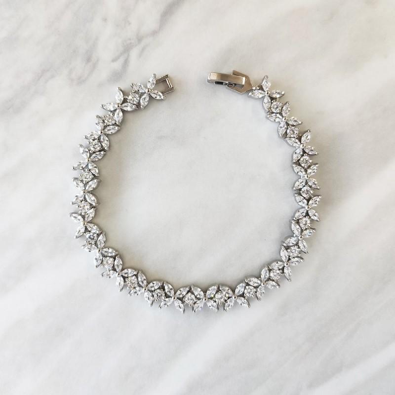 Bransoletka ślubna z kryształkami stal szlachetna BSL06S
