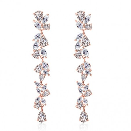 Wedding earrings hanging with crystals, stainless steel KSL54RZ