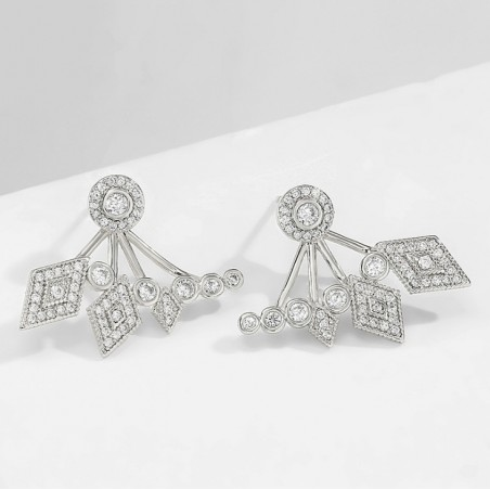 Kolczyki ślubne wiszące z kryształkami stal szlachetna KSL80S