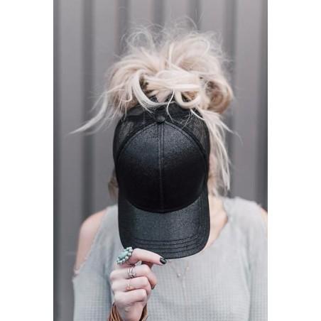 Czapka z daszkiem damska na kucyk brokat czarna CZ08CZ