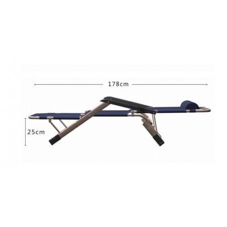 Leżak ogrodowy składany, wzmacniany, materiał, granatowy DK01