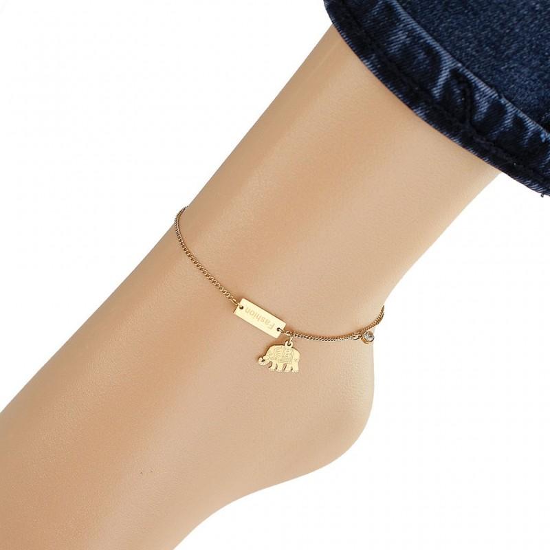 Bransoletka na stopę stal chirurgiczna platerowana złotem BST1128