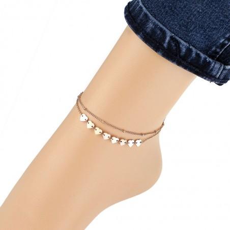 Bransoletka na stopę stal chirurgiczna platerowana złotem BST1130