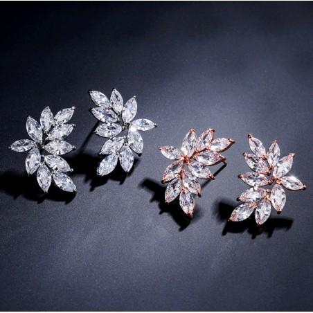 Kolczyki ślubne wiszące z kryształkami stal chirurgiczna KSL70RZ