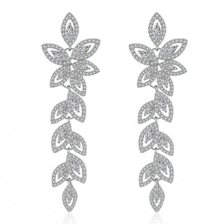 Wedding earrings hanging with crystals, stainless steel KSL78S