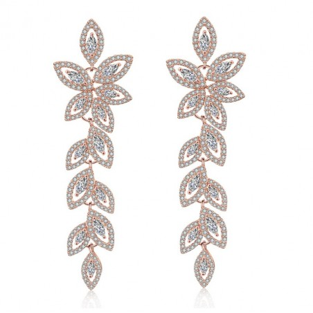 Wedding earrings hanging with crystals, stainless steel KSL78RZ