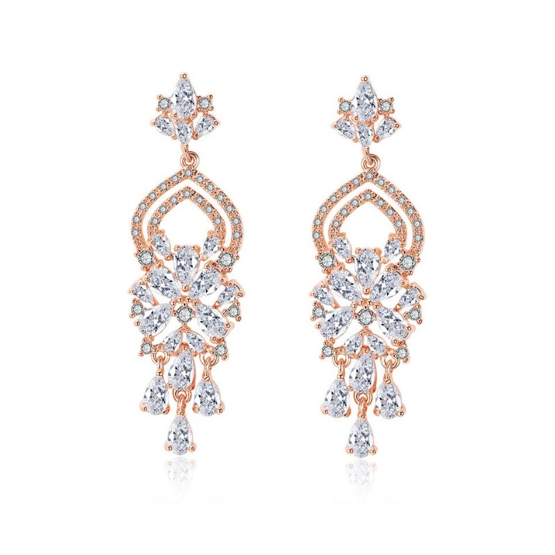 Wedding earrings hanging with crystals, stainless steel KSL62RZ