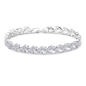 Bransoletka ślubna z kryształkami srebrna BSL03S