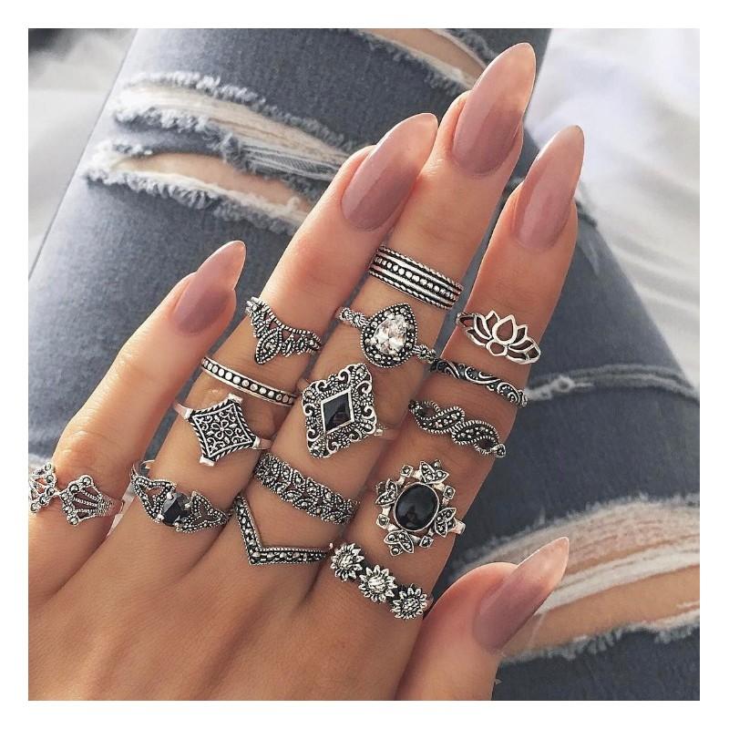 Zestaw 15 pierścionków złote PE58