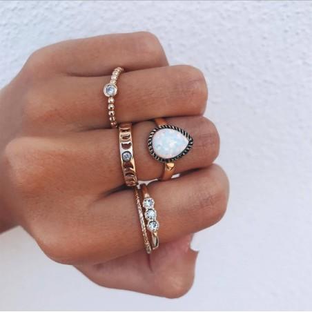 Zestaw 5 pierścionków złote PE59