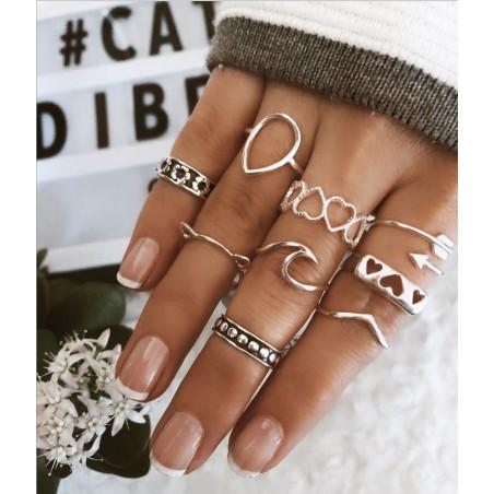 Zestaw 9 pierścionków złote PE60