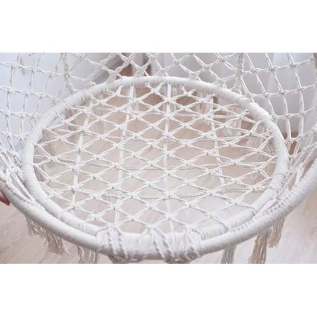 Fotel wiszący bocianie gniazdo hamak BOHO, huśtawka w kolorze ecru KR10K
