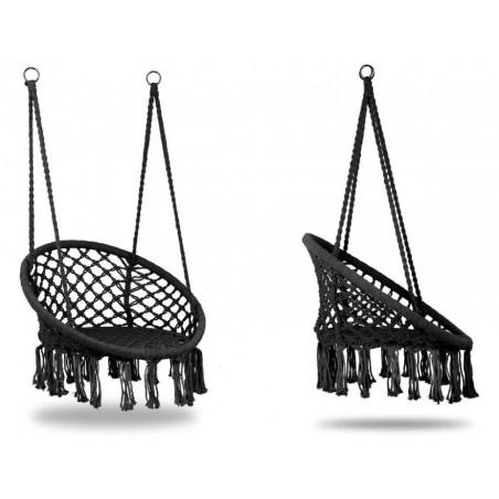 Fotel wiszący bocianie gniazdo hamak BOHO, huśtawka w kolorze czarnym KR10CZ