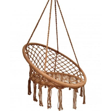 Fotel wiszący bocianie gniazdo hamak BOHO, huśtawka w kolorze brąz KR10BR