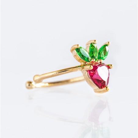Kolczyk w kolorze złotym z kryształkiem nausznica fruity 1 szt K1546WZ2