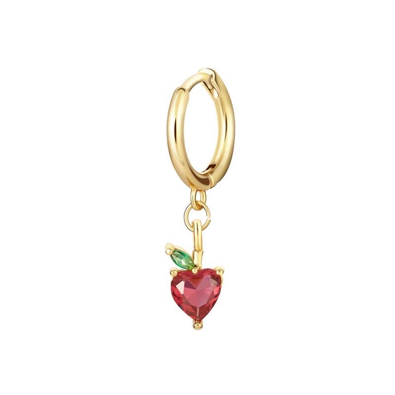 Kolczyk w kolorze złotym z kryształkiem zapięcie angielskie fruity 1szt K1547WZ3