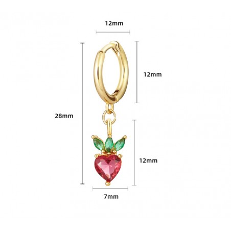 Kolczyk w kolorze złotym z kryształkiem nausznica fruity 1szt K1547WZ4