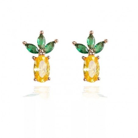 Kolczyki w kolorze złotym z kryształkiem sztyft fruity K1548WZ1