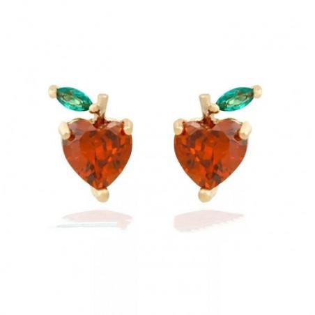Kolczyki w kolorze złotym z kryształkiem sztyft fruity K1548WZ3