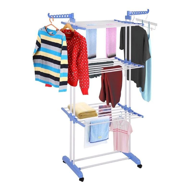 Suszarka na pranie duża pionowa biało niebieska składana stojąca poziomowa