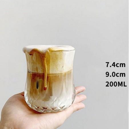 SZKLANKI ZDOBIONE DO KAWY LATTE DRINKÓW WHISKY 200 ML - ZESTAW 6 SZT