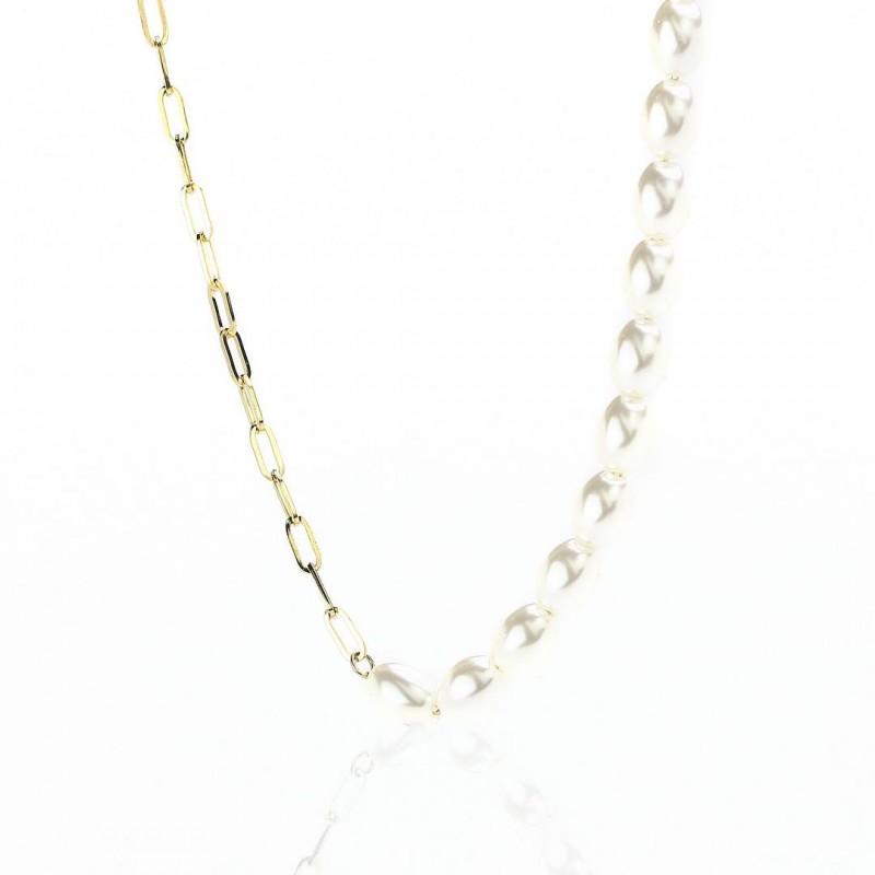 Naszyjnik stal chirurgiczna perły złoty NST1070