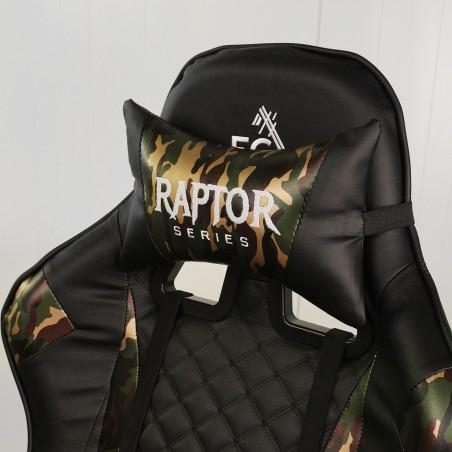 Fotel gamingowy Raptor - X obrotowy biurowy czarny z elementami moro KO10MORO