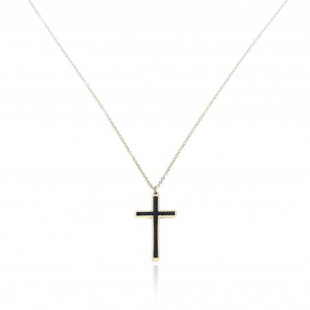 Naszyjnik stal chirurgiczna krzyż złoty NST1276CZ