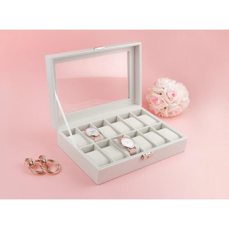 Szkatułka pudełko na 12 zegarków biała PD98