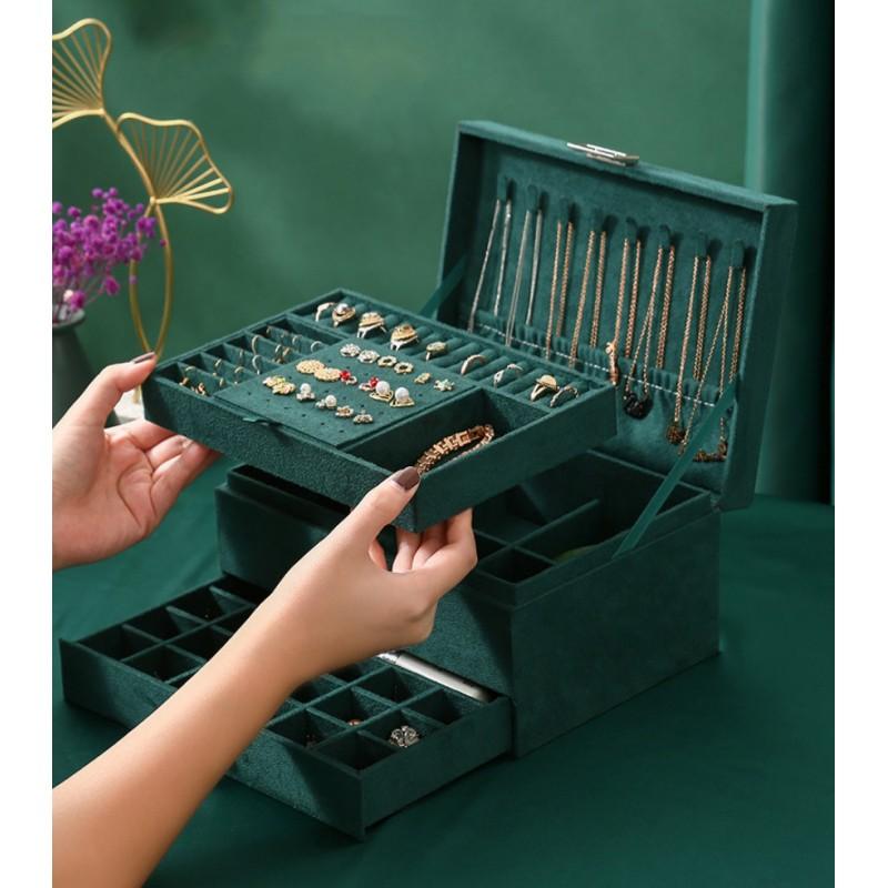 Szkatułka na biżuterię kuferek etui organizer butelkowa zieleń pudełko PD119