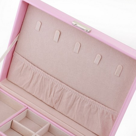 Szkatułka na biżuterię, etui, organizer, pudełko różowa PD100R