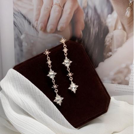 KOLCZYKI wiszące kryształki ROSE GOLD K1531