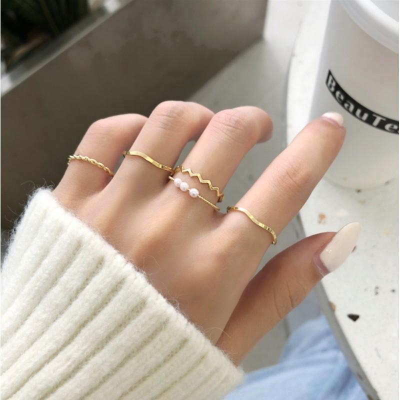 Zestaw 5 pierścionków złote PE61