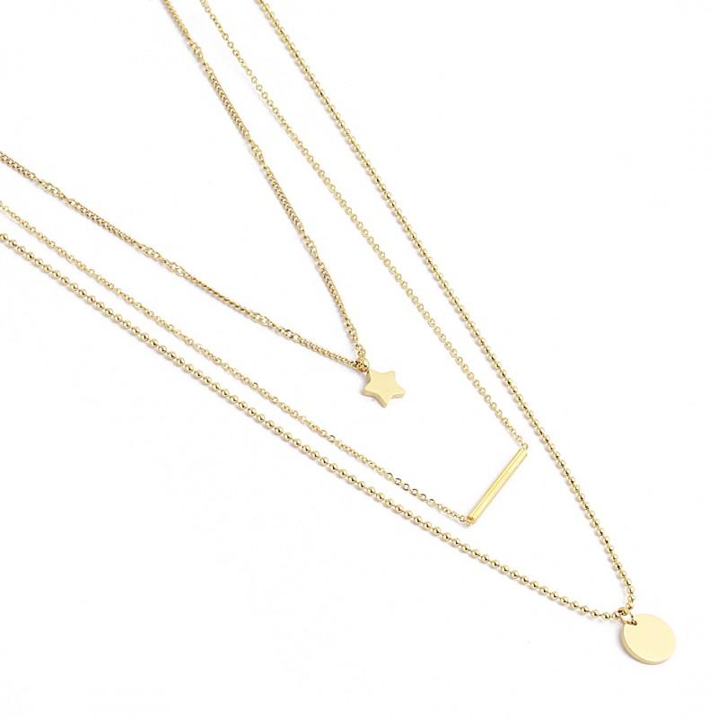 Naszyjnik stal chirurgiczna platerowany złotem NST1296