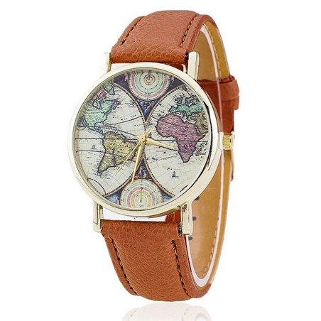 Zegarek mapa ziemi retro brąz z35