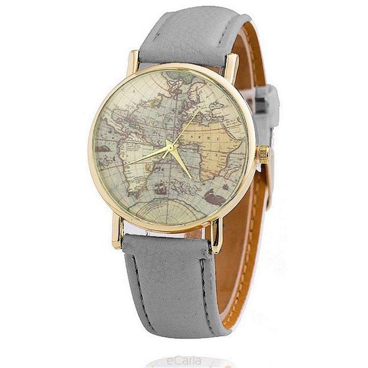 Zegarek brązowa mapa świata szarosc Z05B