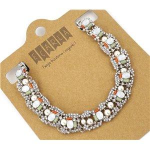 Kolia biały kryształ z perłą