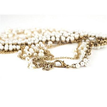 Kolia dwustronna perły łańcuszki