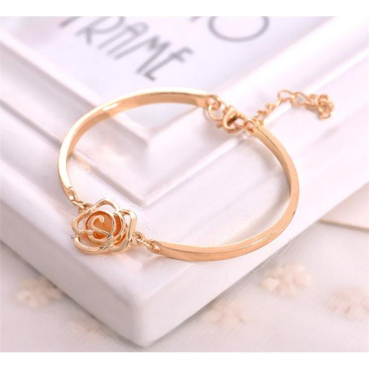 bransoletka obręcz bursztynowy kryształ z różą BO26