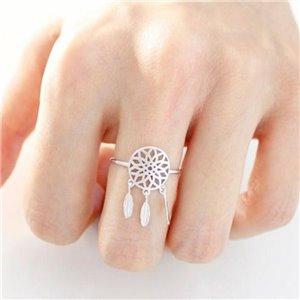 pierścionek delikatny dreamcatcher łapacz snów SREBRNY P374