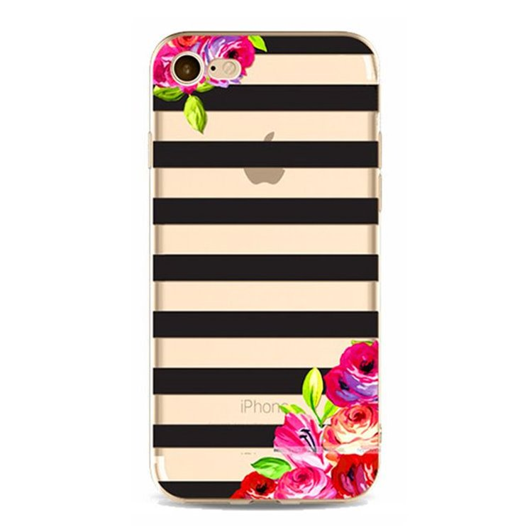 ETUI NA TELEFON IPHONE 6/6S - FLOWERS AND STRIPES ETUI17WZ13