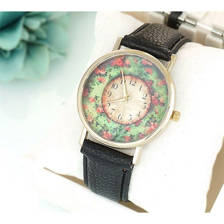 Zegarek Kwiaty w ogrodzie czarny Z188