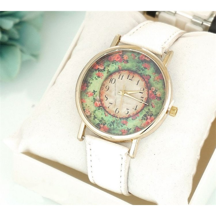Zegarek Kwiaty w ogrodzie biały Z188