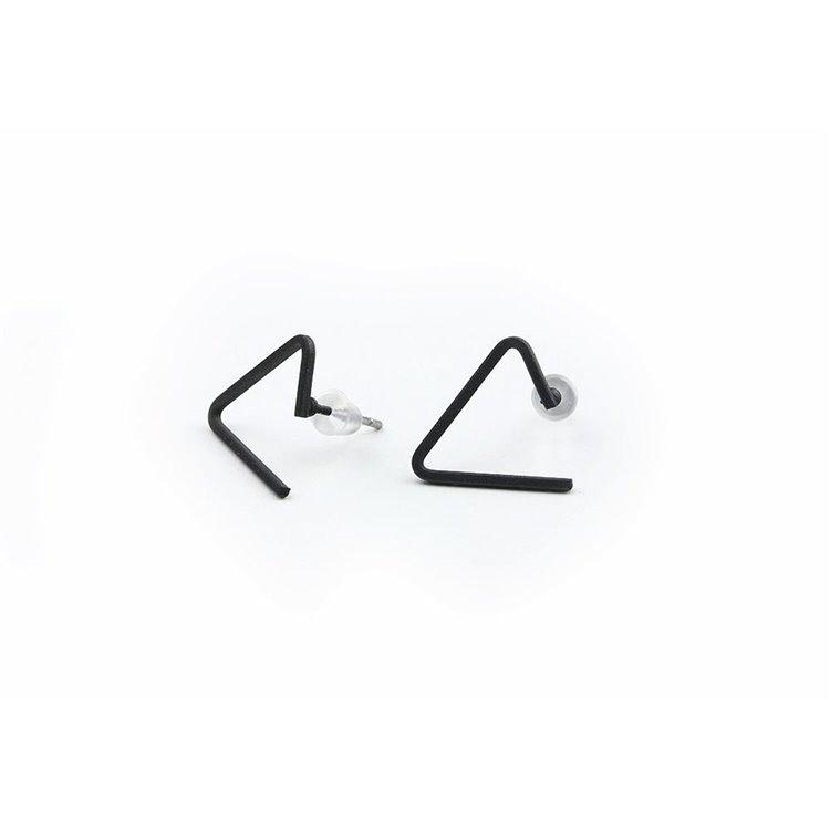 KOLCZYKI SIMPLE TRIANGLE CZARNE K207