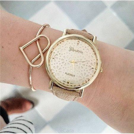 Bransoletka Obręcz Do Zegarka Ażurowe Serce srebrna BO35
