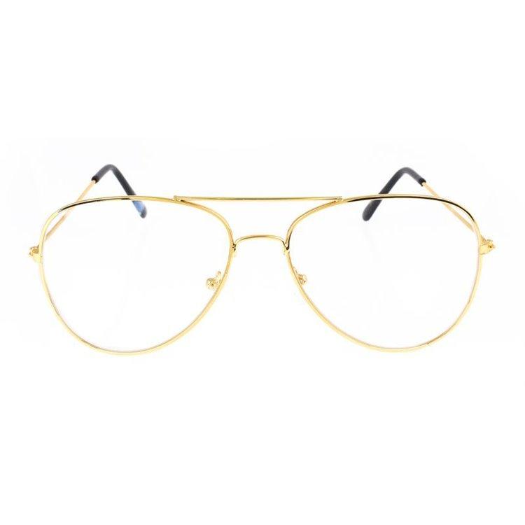 Okulary zerówki pilotki złote