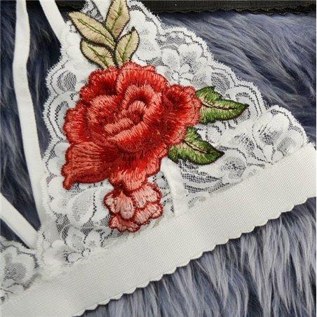 Ozdobny Top róże biel rozmiar L