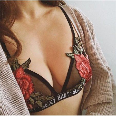 Ozdobny Top róże SEXY BABY rozmiar l